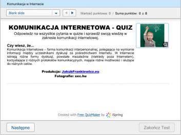 quiz komunikacja w internecie - Jakub Frankiewicz - Nowoczesna Edukacja