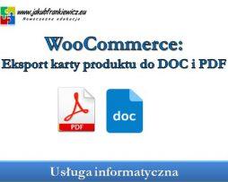 WooCommerce: Eksport karty produktu do DOC i PDF