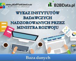 Wykaz instytutów badawczych nadzorowanych przez Ministra Rozwoju